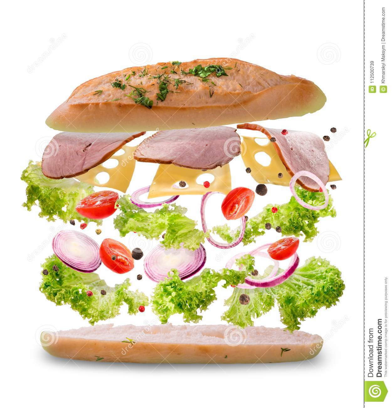 Sandwich with flying ingredients. Freeze motion. Close-up. White background.
