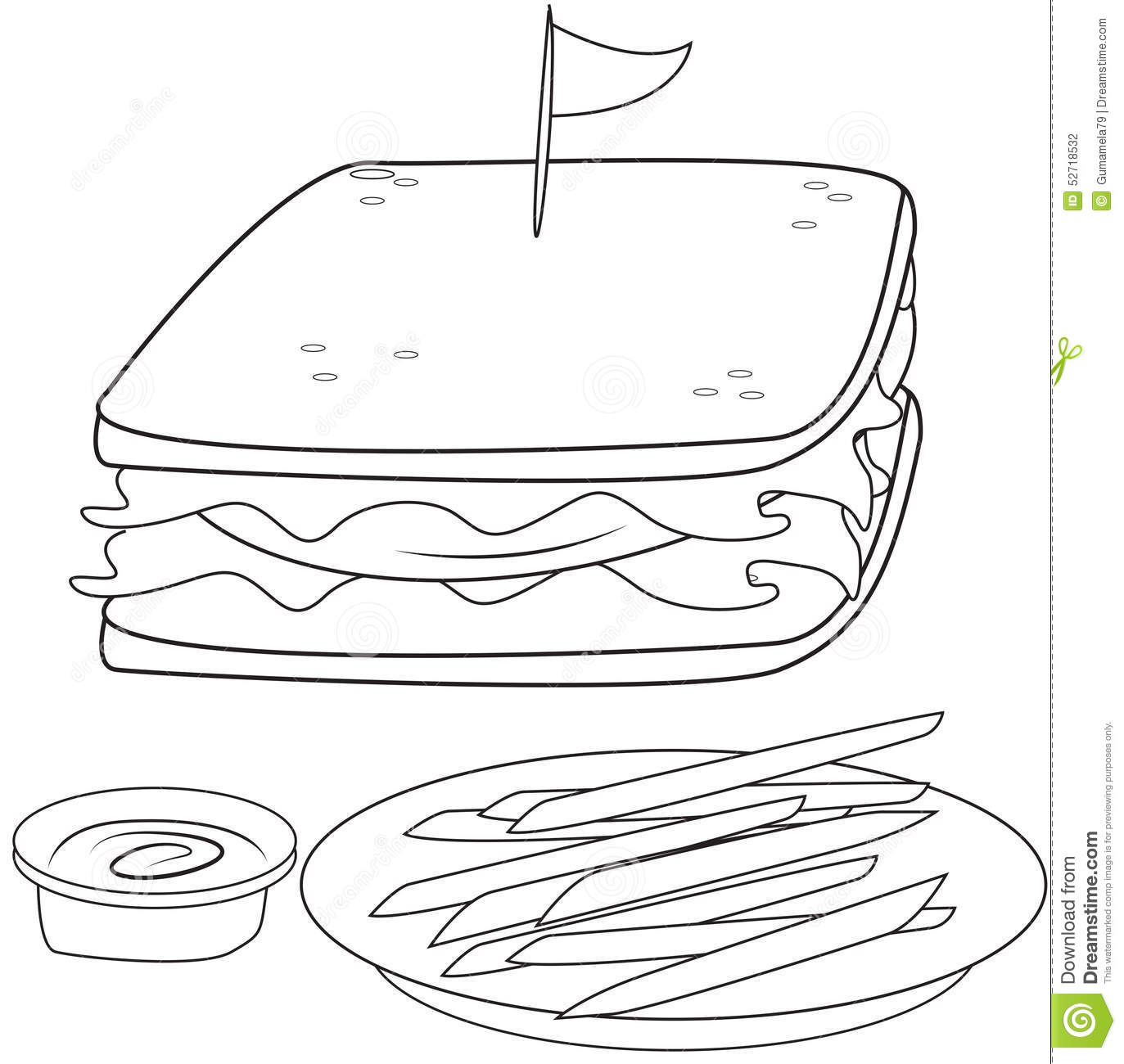 Clip Art Sandwich Coloring Pages sandwich and fries coloring page stock illustration image 52718532 page