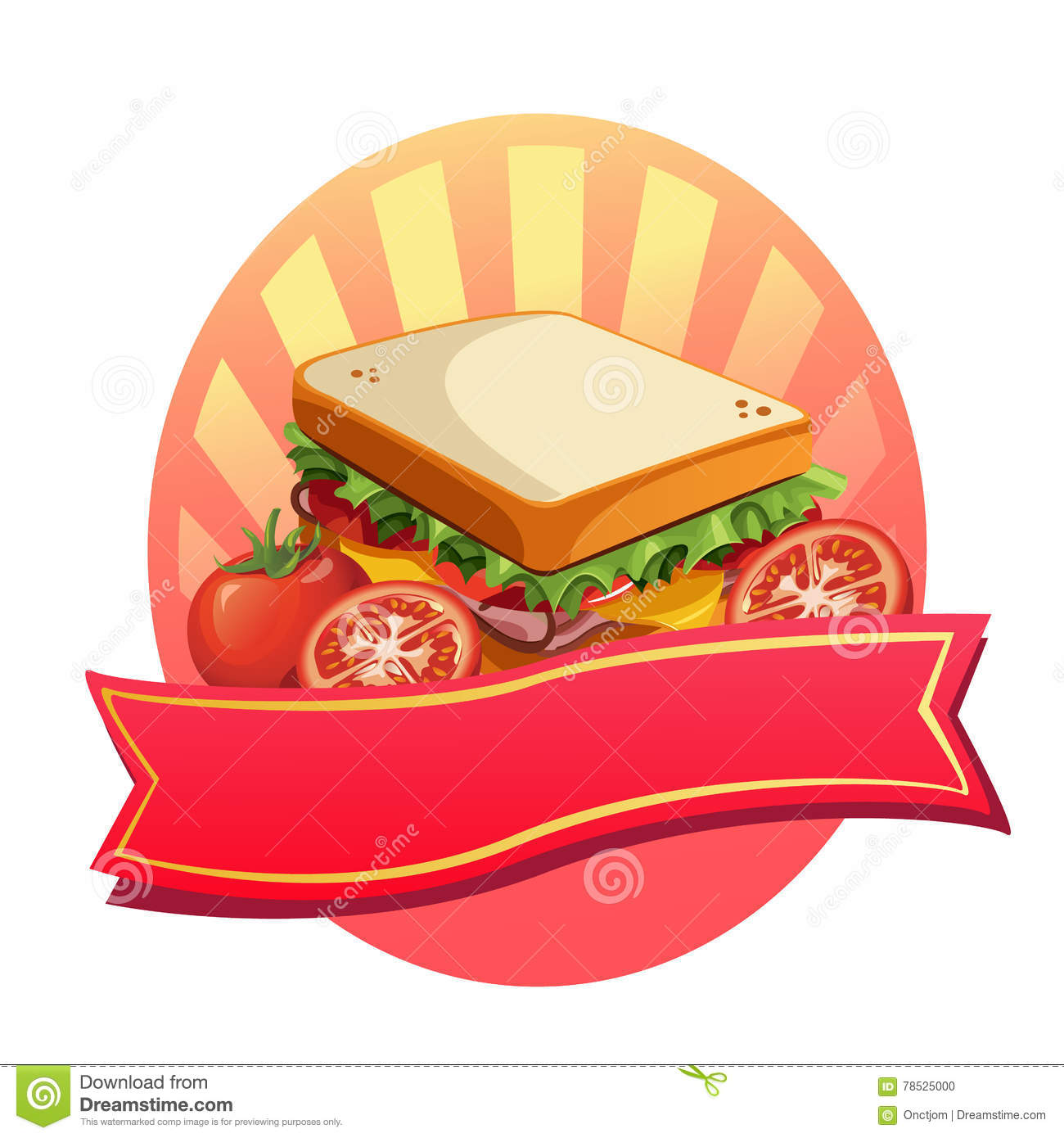 Sandwich Label Stock Vector Illustration Of Lunch Graphic 78525000