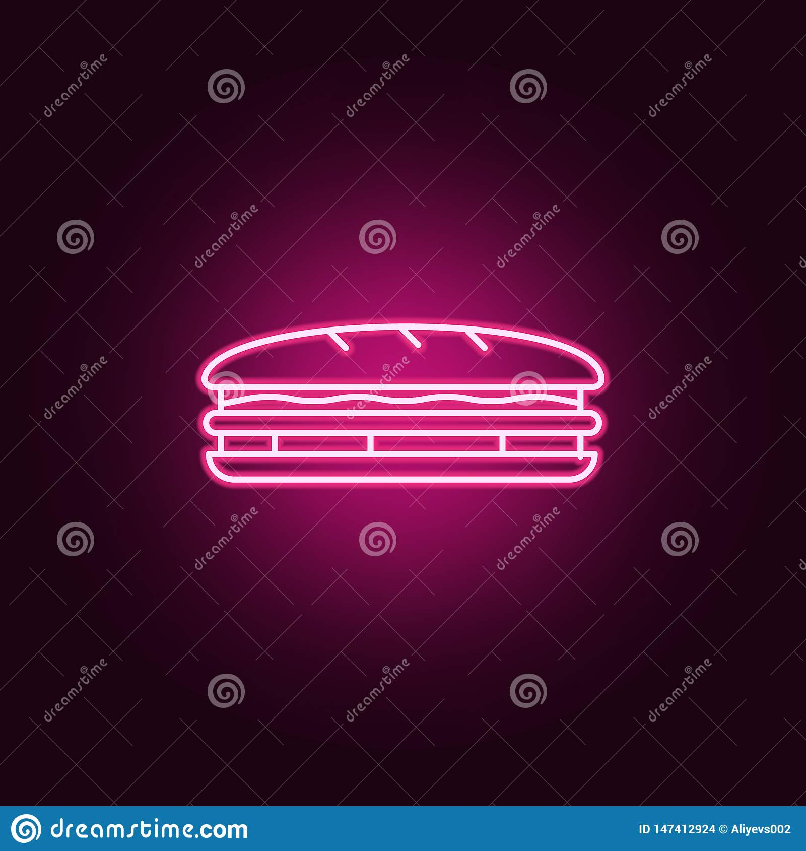 Sandwich Neon Icon. Elements Of Fast Food Set. Simple Icon