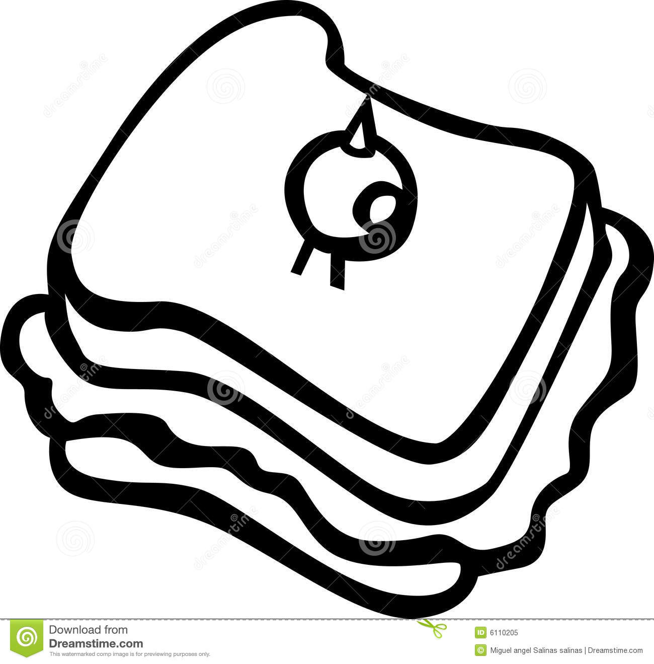Sandwich With Olive Vector Illustration Stock Vector