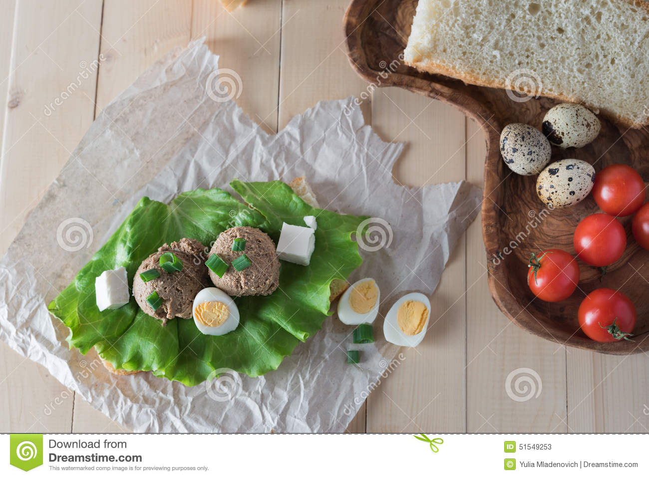 Sandwich With Paste From Chicken Liver And Stock Photo ...