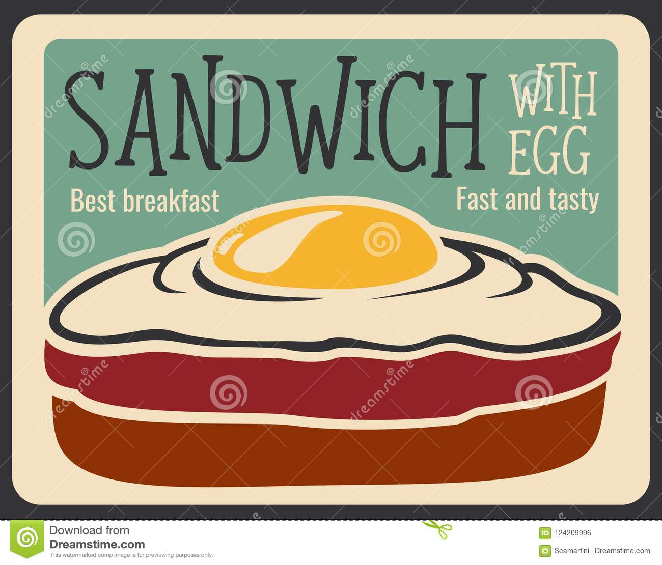 Fast Food Sandwich Vector Retro Poster Stock Vector - Illustration ...