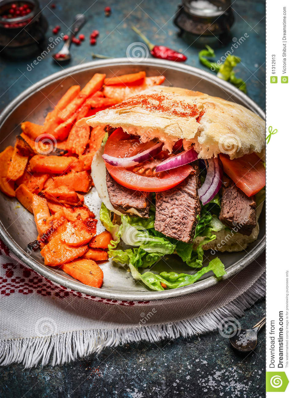 Sandwich With Roasted Meat, Fresh Vegetables And Sweet ...