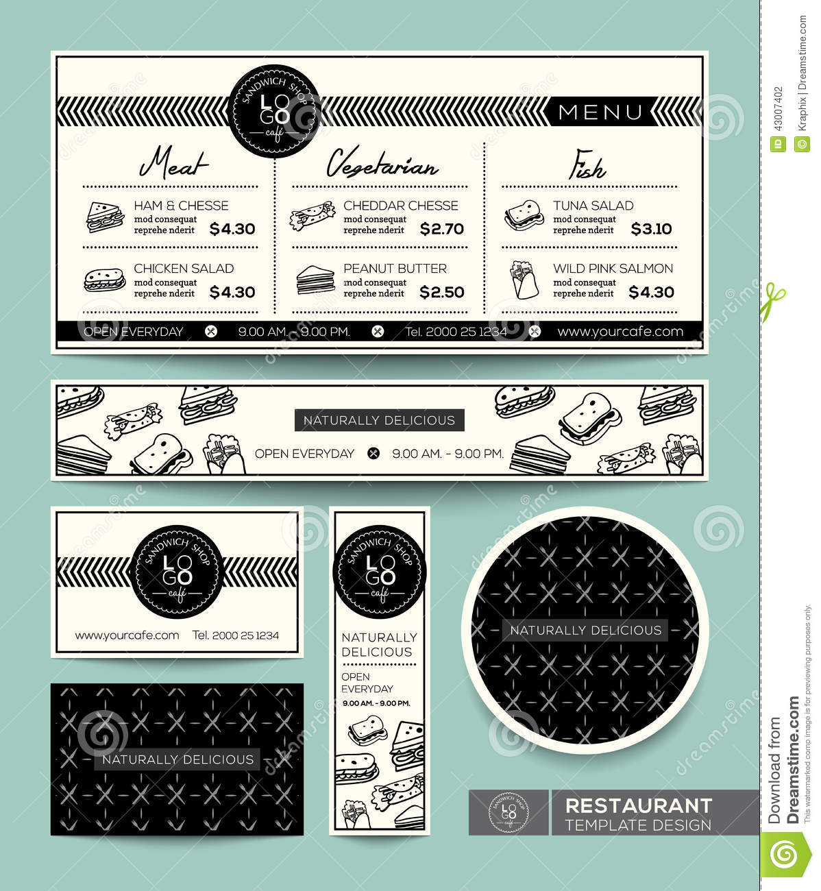 Sandwich set menu restaurant graphic design template stock for Sandwich shop menu template