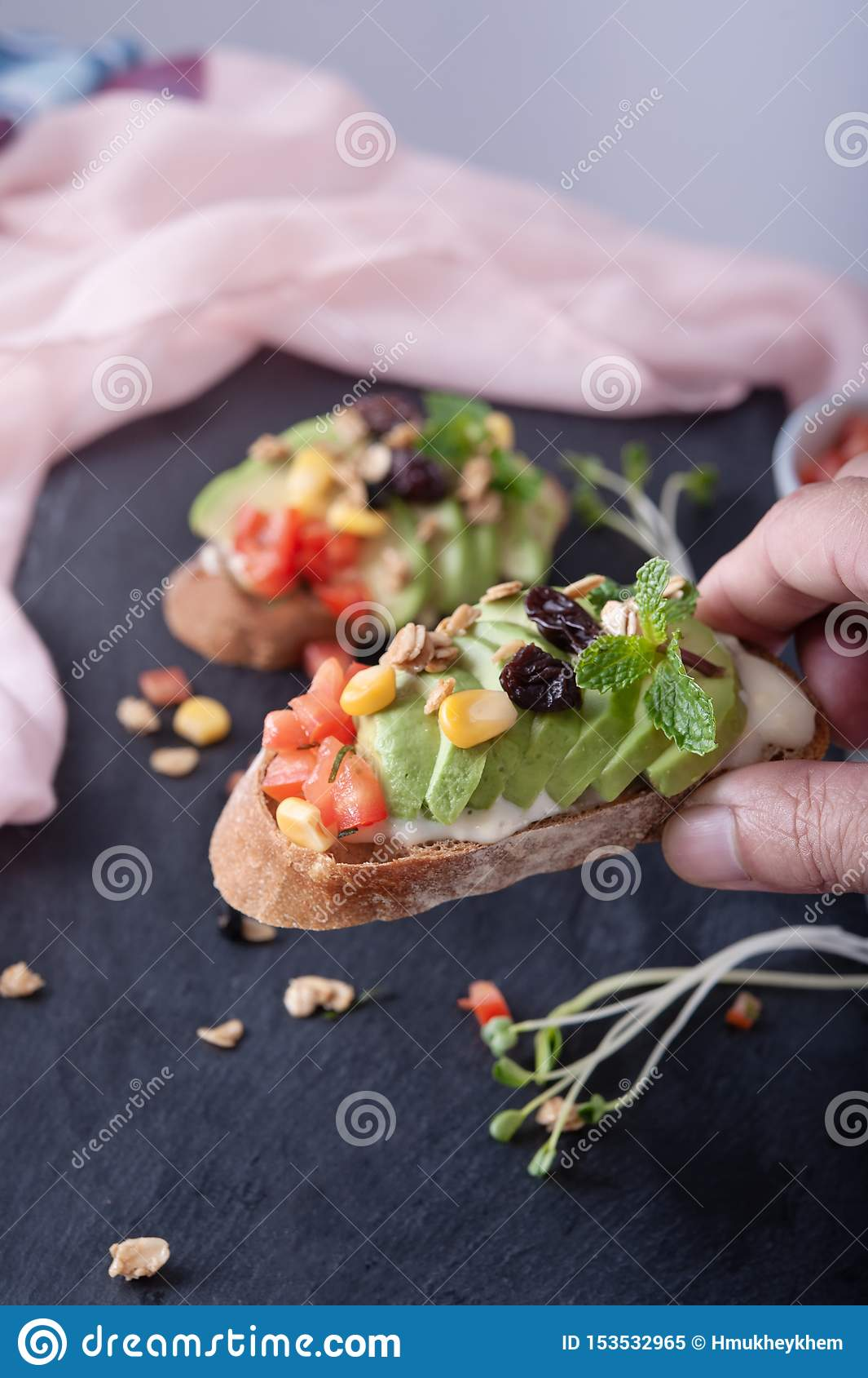 Sandwiches avocado tomato corn grains