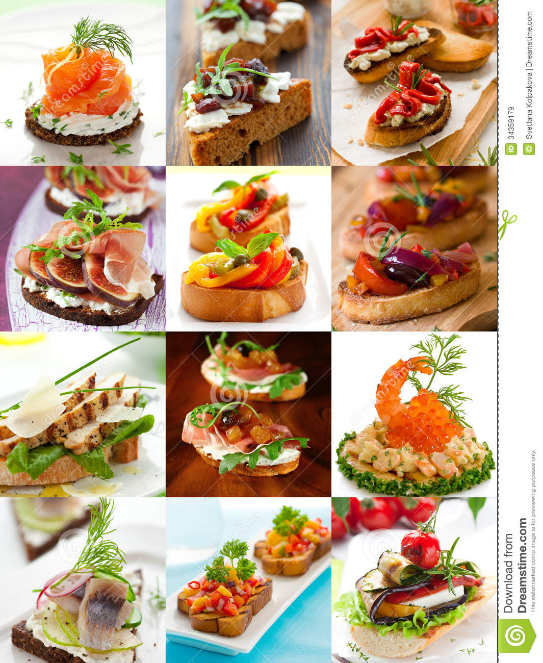 Sandwiches and canape collage royalty free stock images for Types of canape