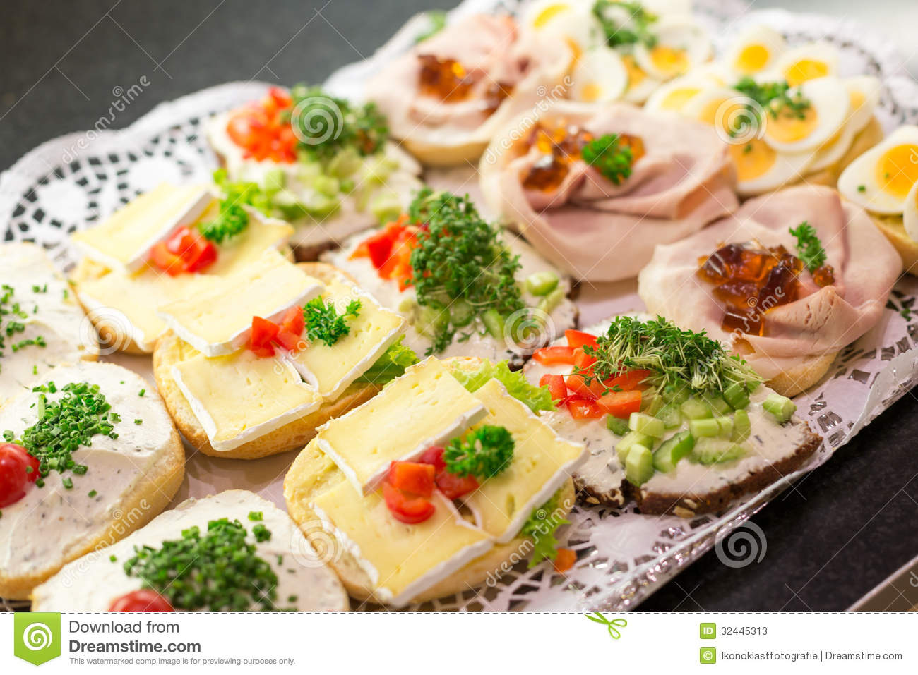 Sandwiches With Cold Cuts On A Tray Stock Image Image Of Catering Dinner 32445313