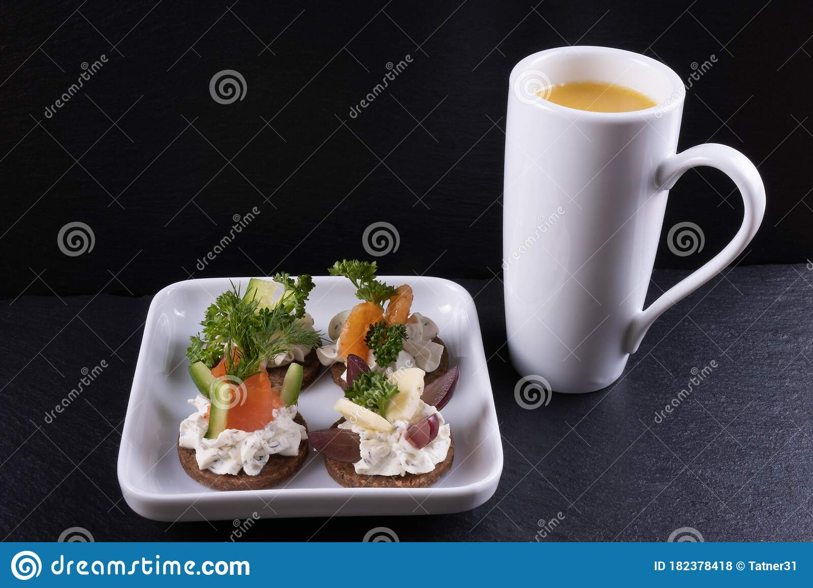 Sandwiches Of Smoked Salmon Shrimp Dill And Sauce On A Plate Next To Orange Juice Stock Photo Image Of Date Healthy 182378418