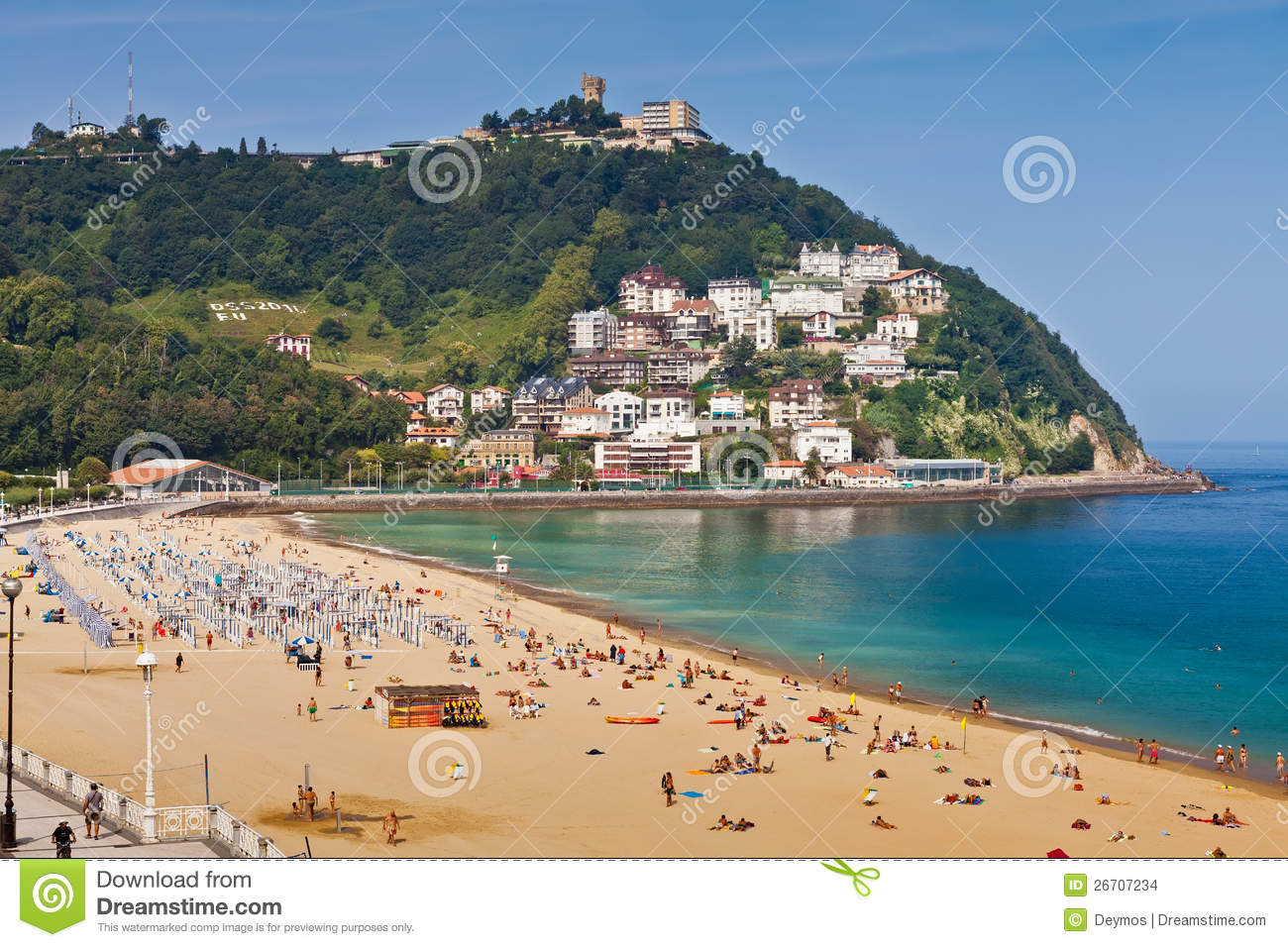 Sandy Beach Of La Concha In San Sebastian, Spain Editorial Stock Image - Imag...