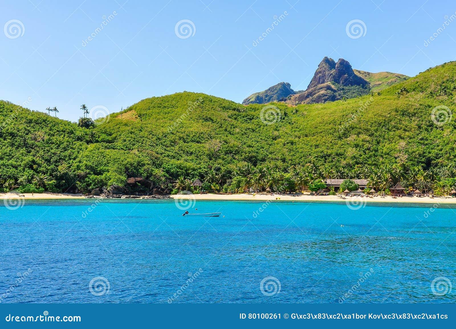 Sandy Beach na ilha de Waya em Fiji