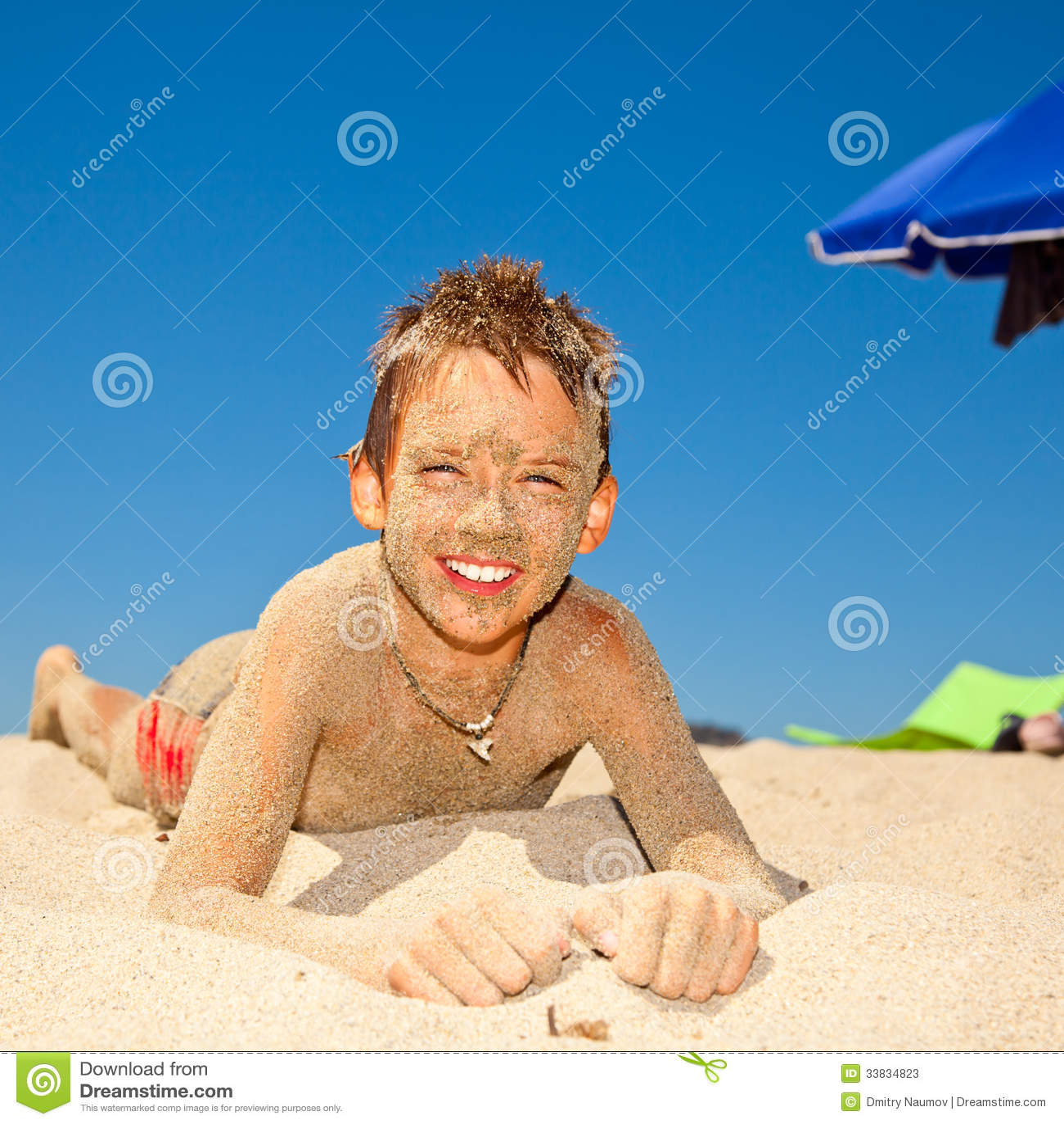 Sandy Boy On A Beach Stock Image. Image Of Lifestyle