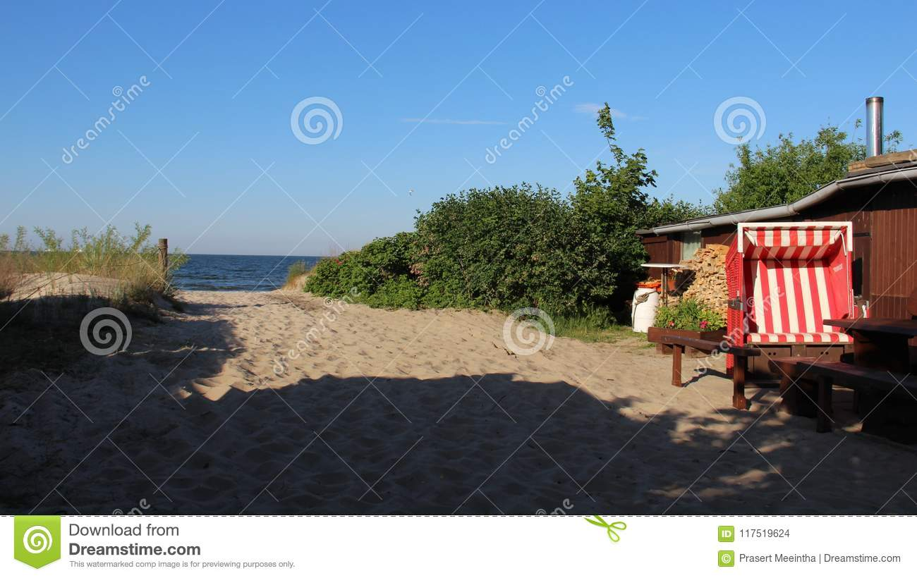 Sandy Pathway With Fishing Hut