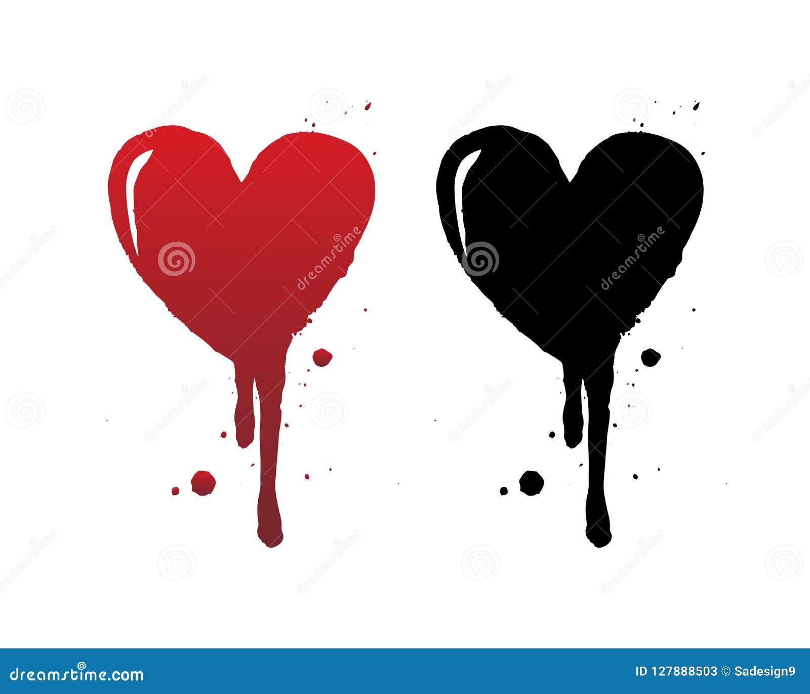 Sang d égoutture ou course rouge de brosse de coeur d isolement sur le fond blanc Coeur grunge noir tiré par la main