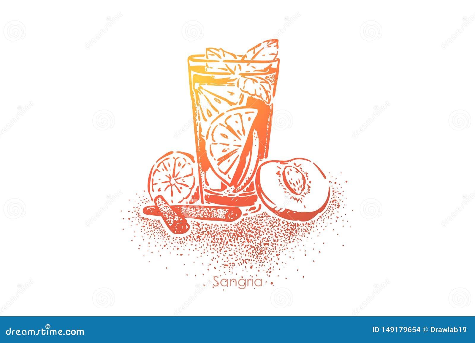 Sangría, bebida del verano con el vino tinto, frutas, azúcar, agua efervescente y brandy, jugo fresco con la rebanada del limón