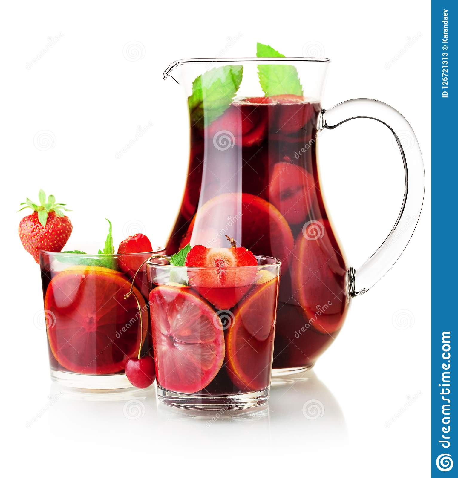 Sangria jug and two glasses. Cocktail collection - Refreshing fruit sangria in jug and two glasses. Isolated on white Stock Photos