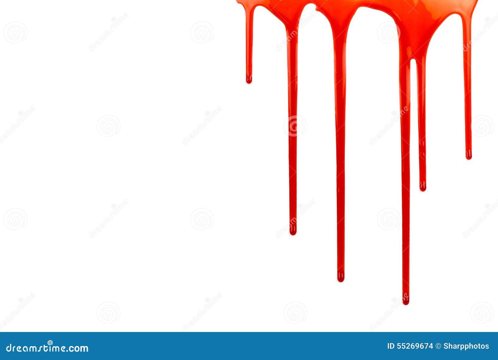 Sangue do gotejamento no branco com espaço da cópia