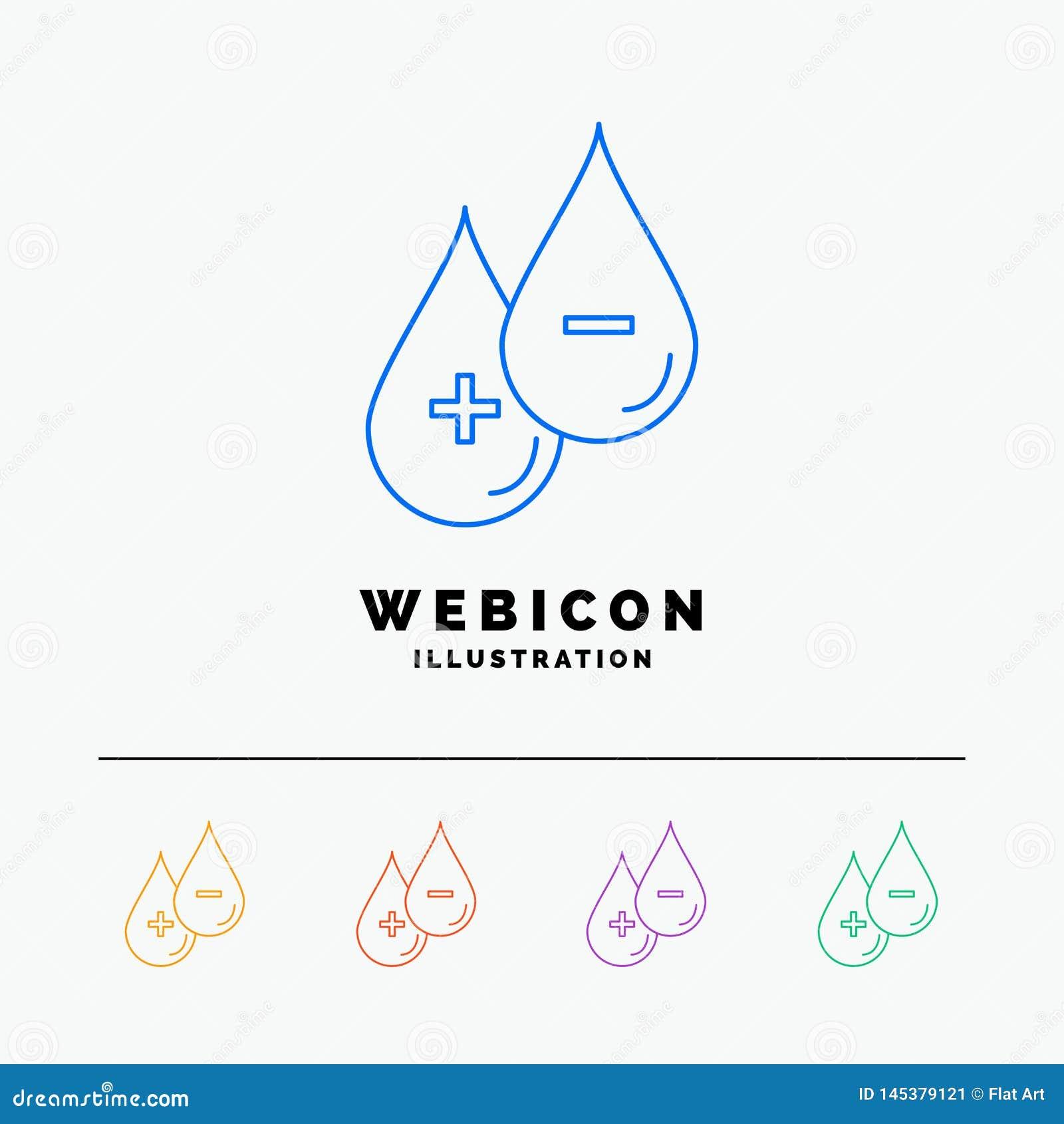 Sangue, goccia, liquido, più, linea di colore di meno 5 modello dell icona di web isolato su bianco Illustrazione di vettore