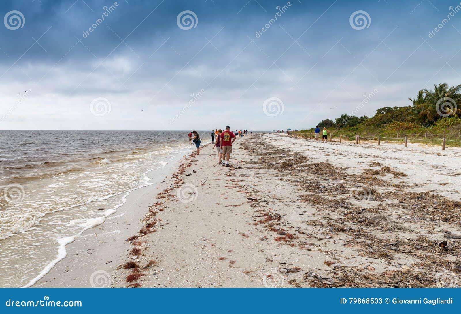 SANIBEL, FL - FEBRUARY 2016: Captiva Island beach with tourists.
