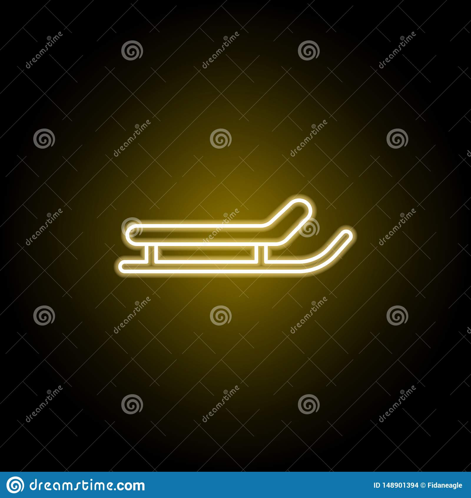 Sanie ikona w neonowym stylu Znaki i symbole mog? u?ywa? dla sieci, logo, mobilny app, UI, UX