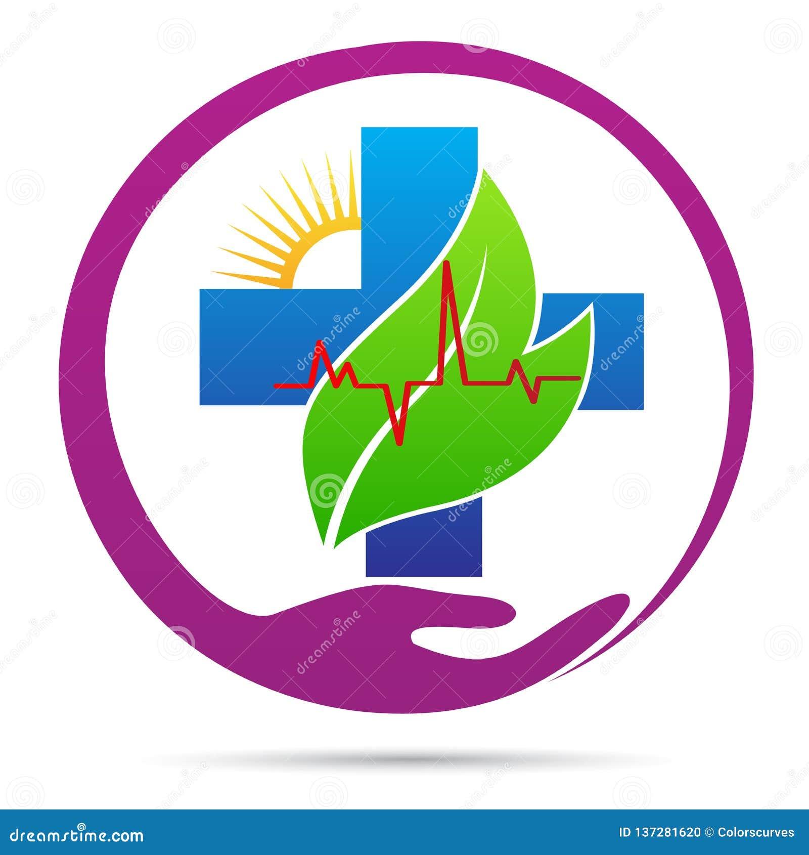 Sanità della gente più il logo di benessere di cura del cuore