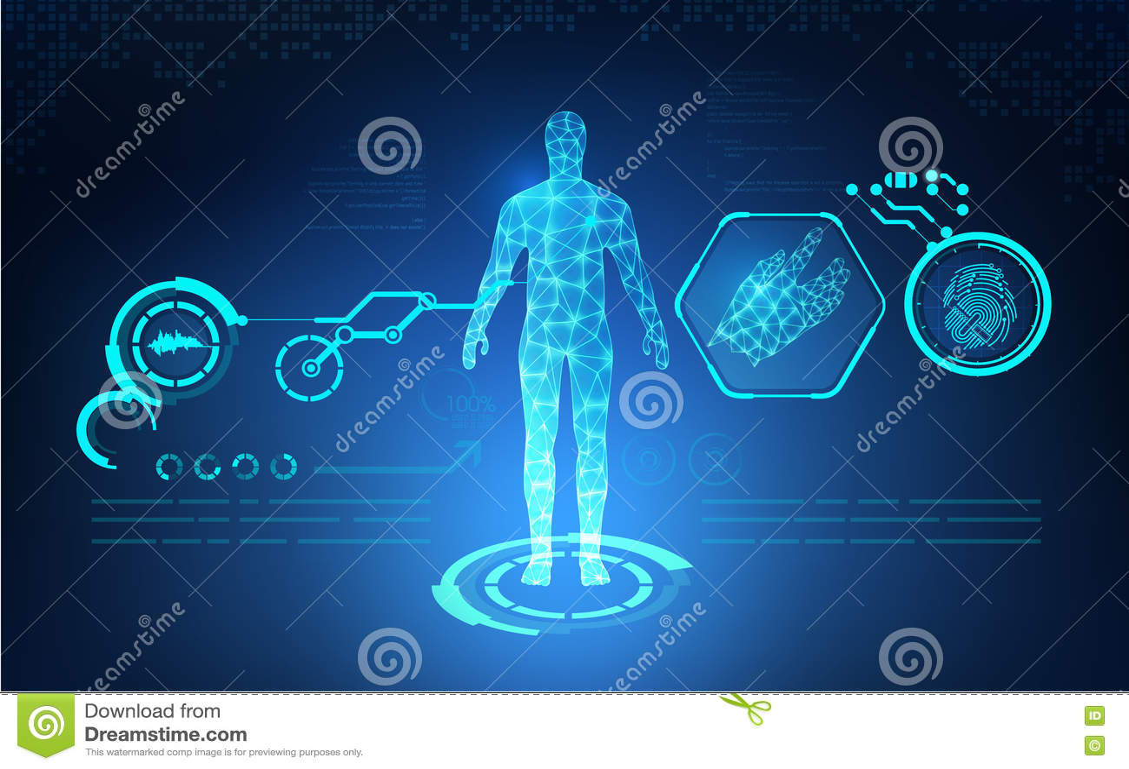 Sanità tecnologica astratta di AI; stampa blu di scienza; interfaccia scientifica; contesto futuristico; modello digitale dell es