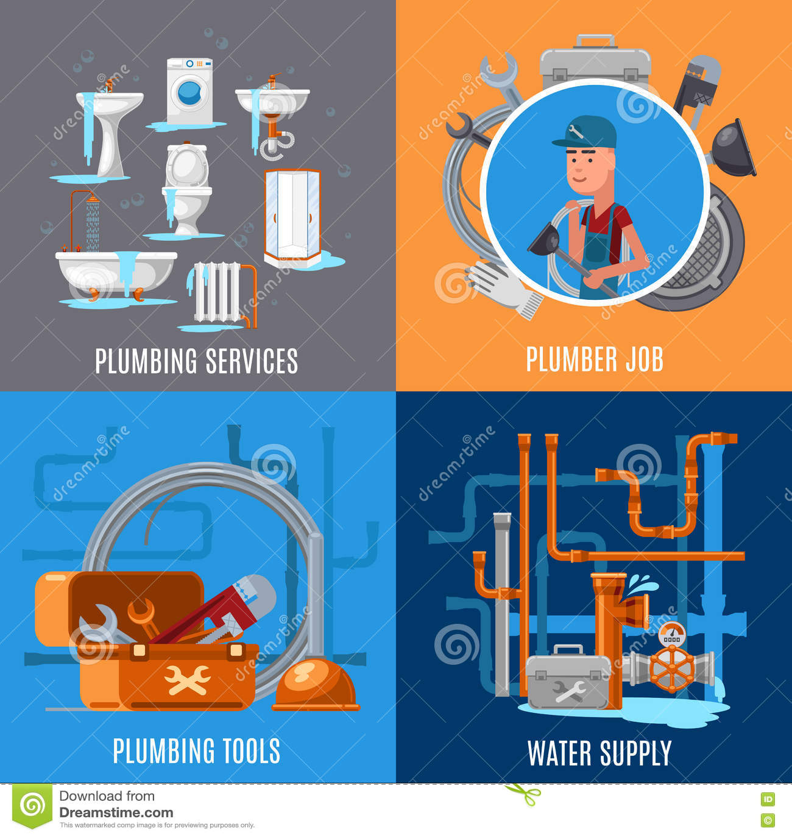 Vector E Sanitary Service : Fix cartoons illustrations vector stock images
