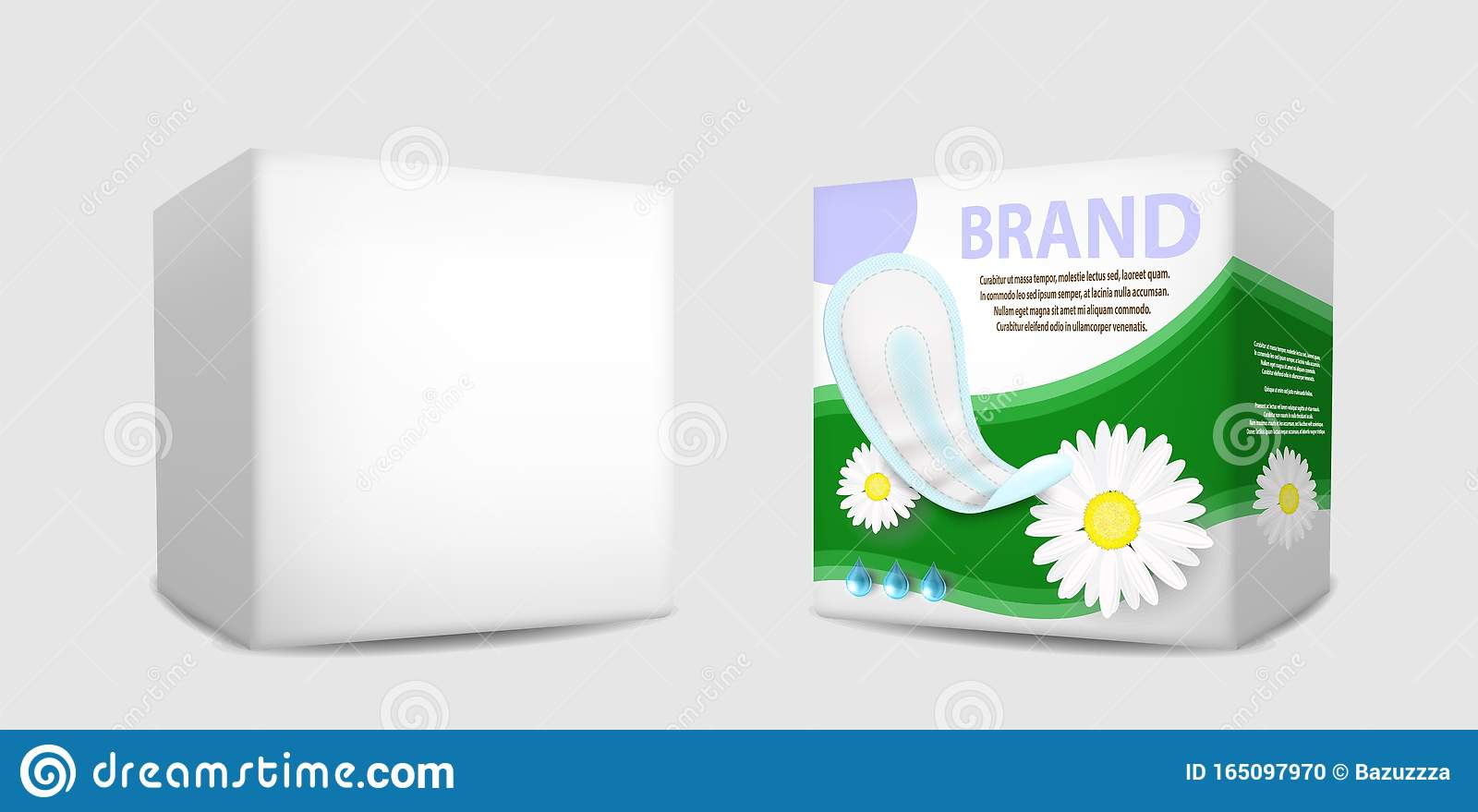 Sanitary Napkin Packaging Box Mockup Set Vector Isolated Illustration Stock Vector Illustration Of Icon Pack 165097970