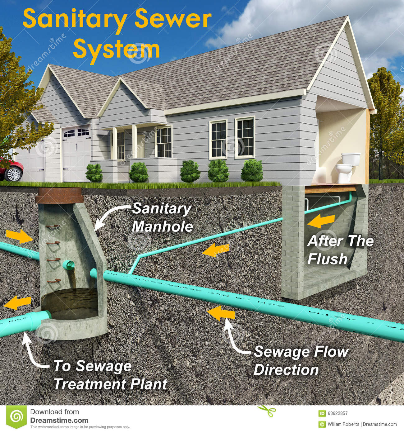 Sanitary System Diagram With Text Stock Illustration