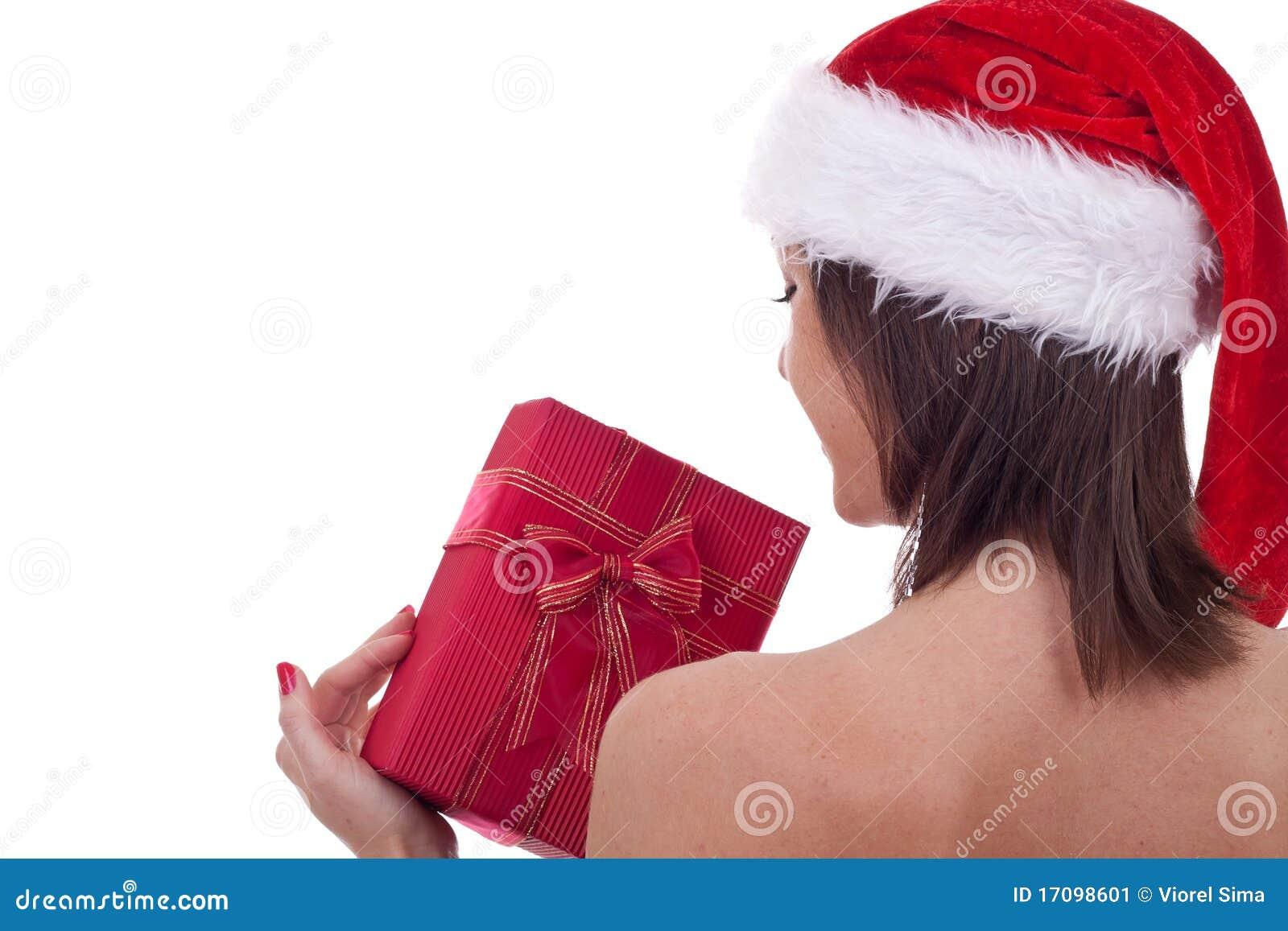 Sankt-Frau, die ein Geschenk anhält