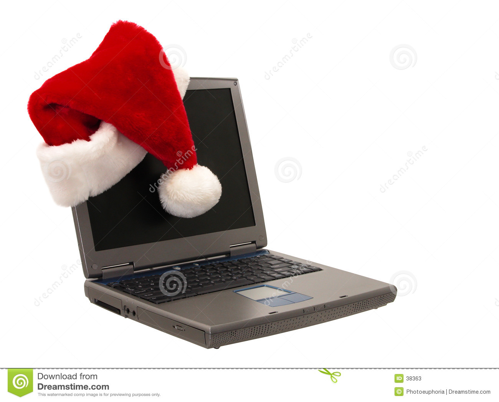 Sankt-Hut, der auf einem Laptop sitzt (2 von 3)