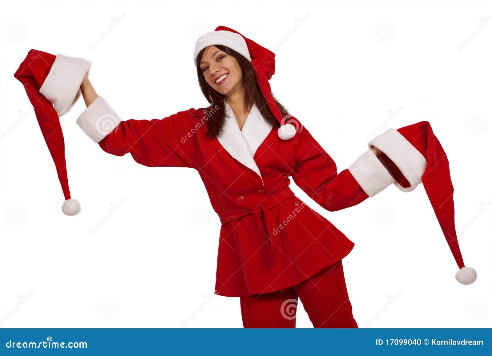 Sankt-Mädchen mit zwei Weihnachtshüten