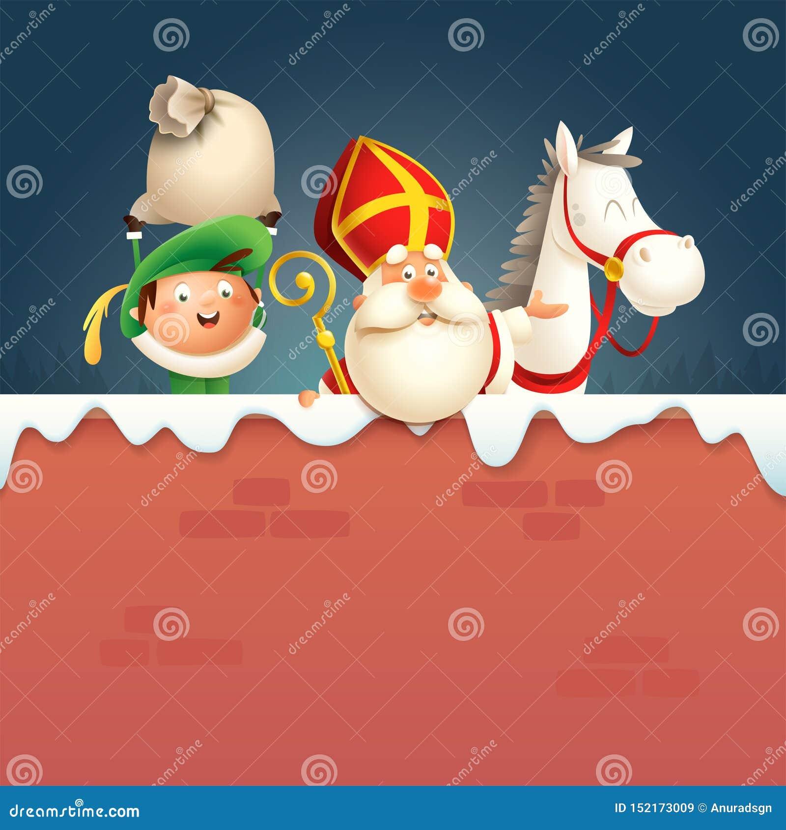 Sankt- Nikolaus oder Sinterklaas-Pferd und Helfer Peter an Bord - glückliche nette Charaktere feiern niederländischen Feiertag au