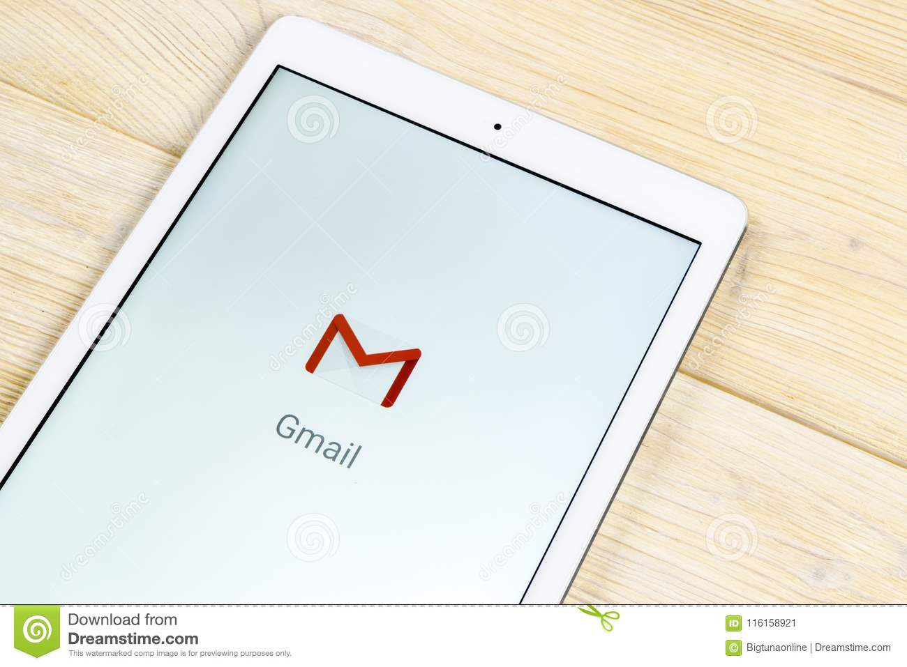 Google Gmail Application Icon On Apple IPad Smartphone Screen Close