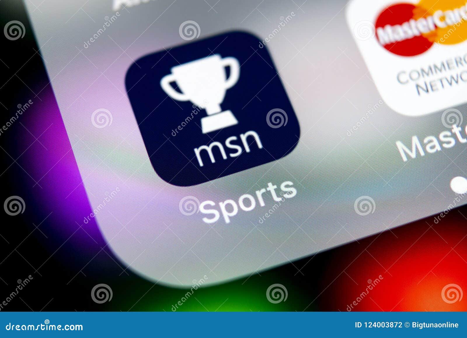 microsoft msn sports application icon on apple iphone x screen close