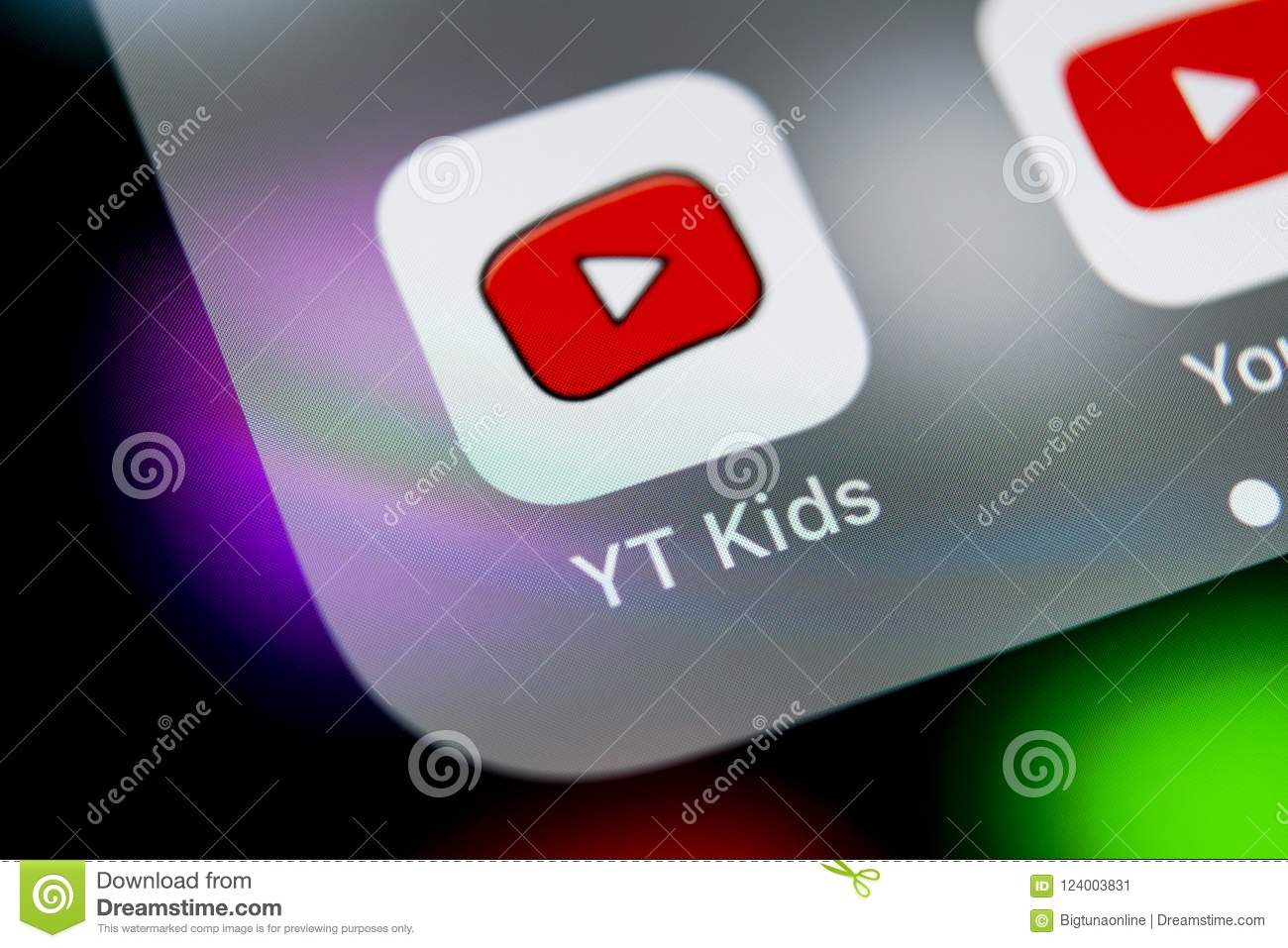 cfad79349f0d YouTube Kids Application Icon On Apple IPhone X Smartphone Screen ...