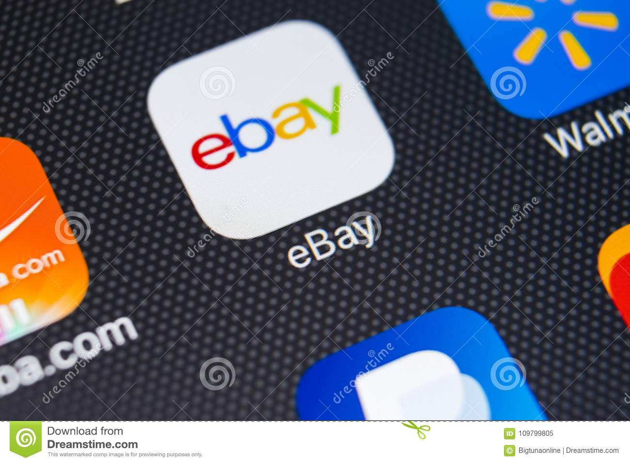detailed look f4757 3f87f EBay Application Icon On Apple IPhone X Screen Close-up. EBay App ...