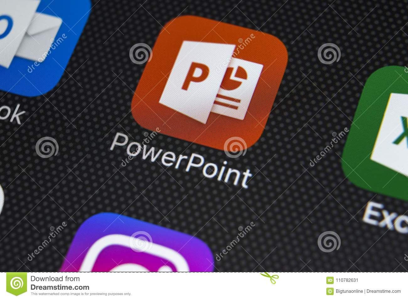 microsoft powerpoint application icon on apple iphone x screen close