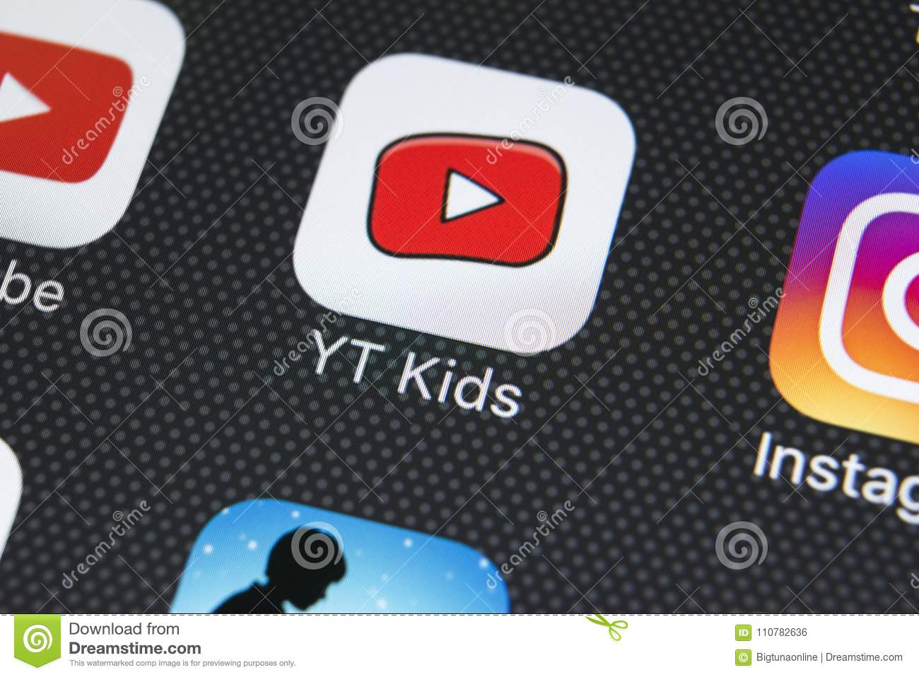 YouTube Kids Application Icon On Apple IPhone X Screen Close-up