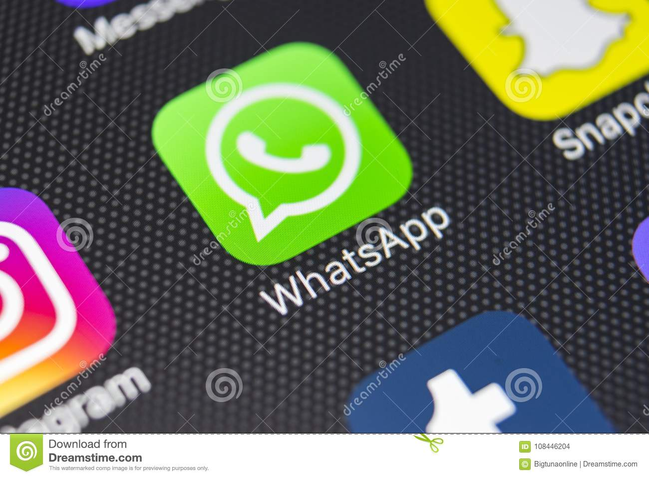 Whatsapp Messenger Application Icon On Apple Iphone 8 Smartphone Screen Close Up Whatsapp Messenger App Icon Editorial Stock Image Image Of Russia Internet 108446204