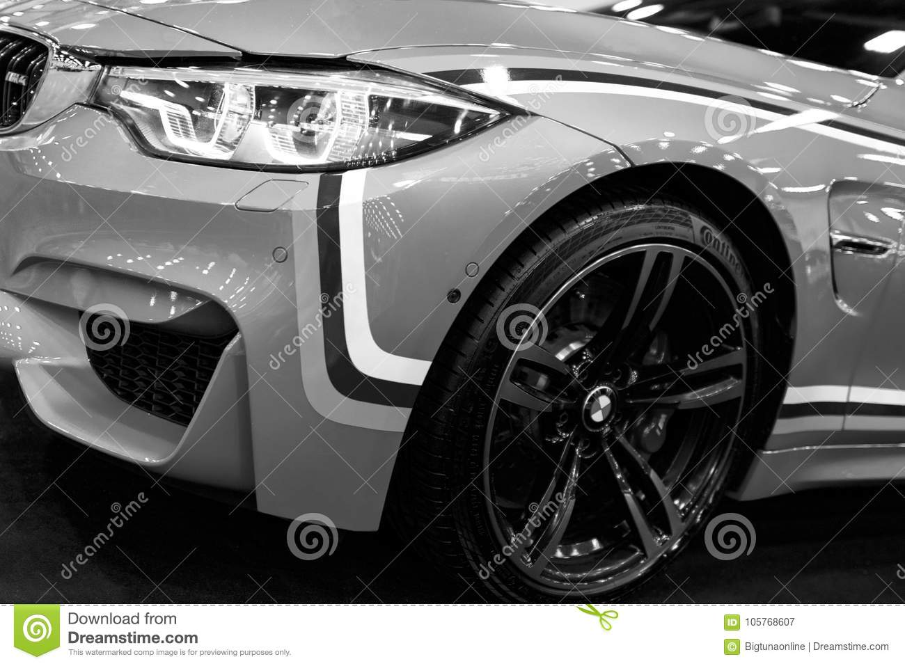 Sankt Petersburg Russia July 21 2017 Front View Of A BMW M4 Sports Car M Performance Edition Exterior Details Black And White