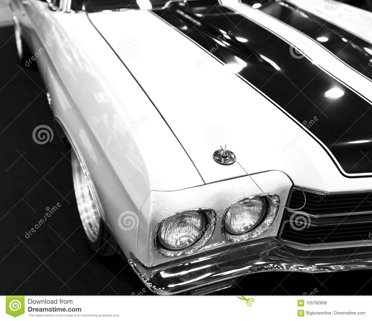 Front View Of A Great Retro American Muscle Car Chevrolet