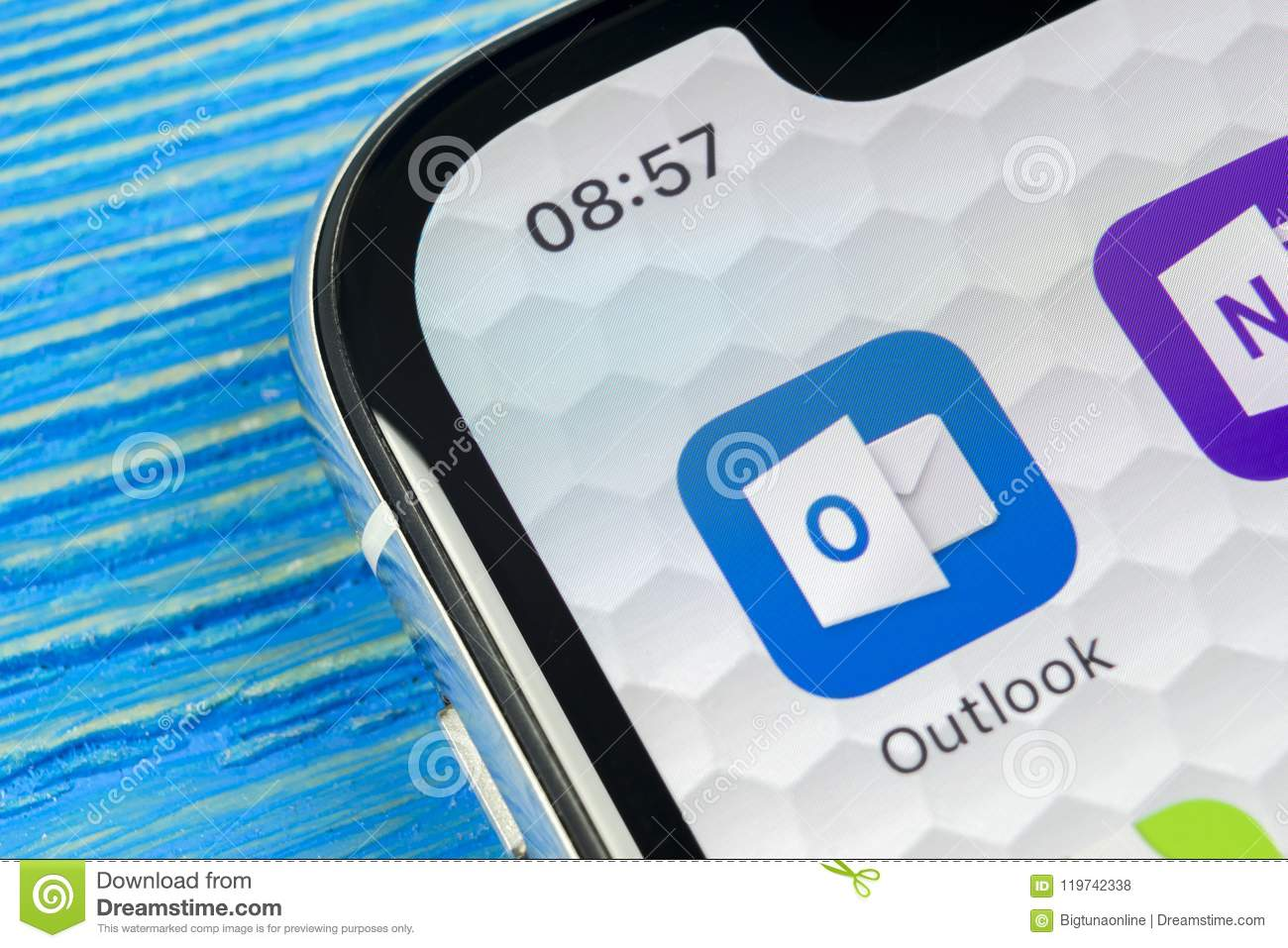 Microsoft Outlook Office Application Icon On Apple IPhone X
