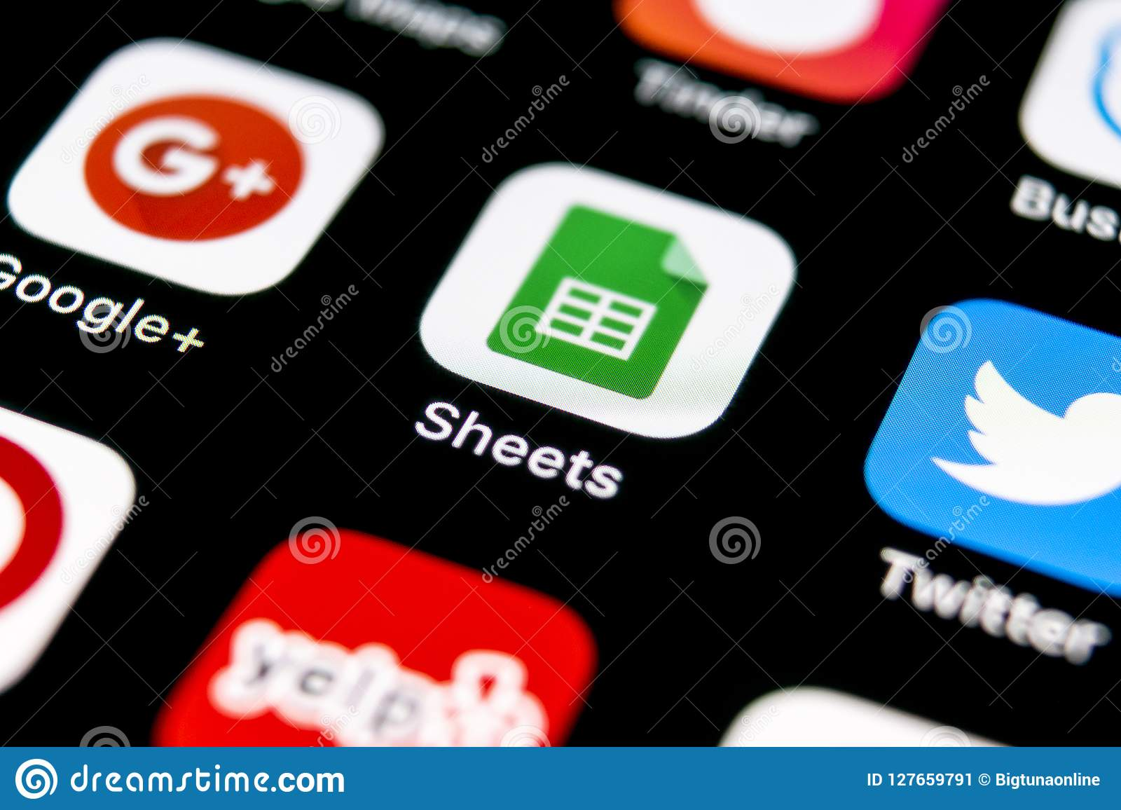 google sheets icon on apple iphone x smartphone screen close up