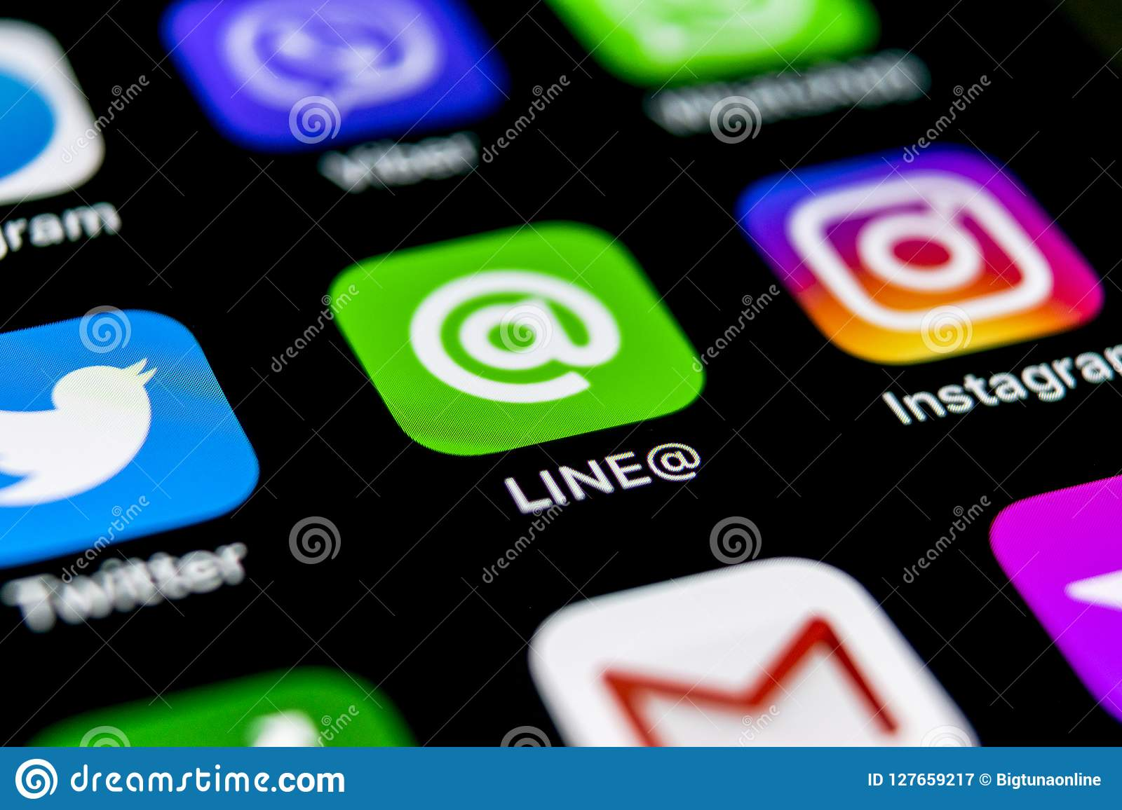 Line Application Icon On Apple IPhone X Screen Close-up  Line App