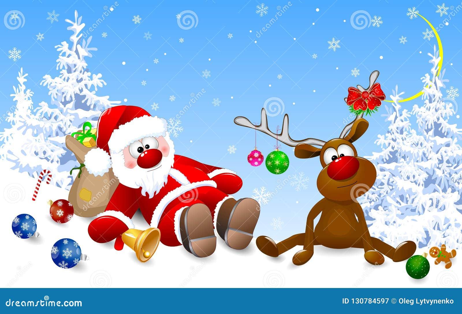 Bilder Nach Weihnachten.Sankt Und Rotwild Morgens Nach Weihnachten Vektor Abbildung