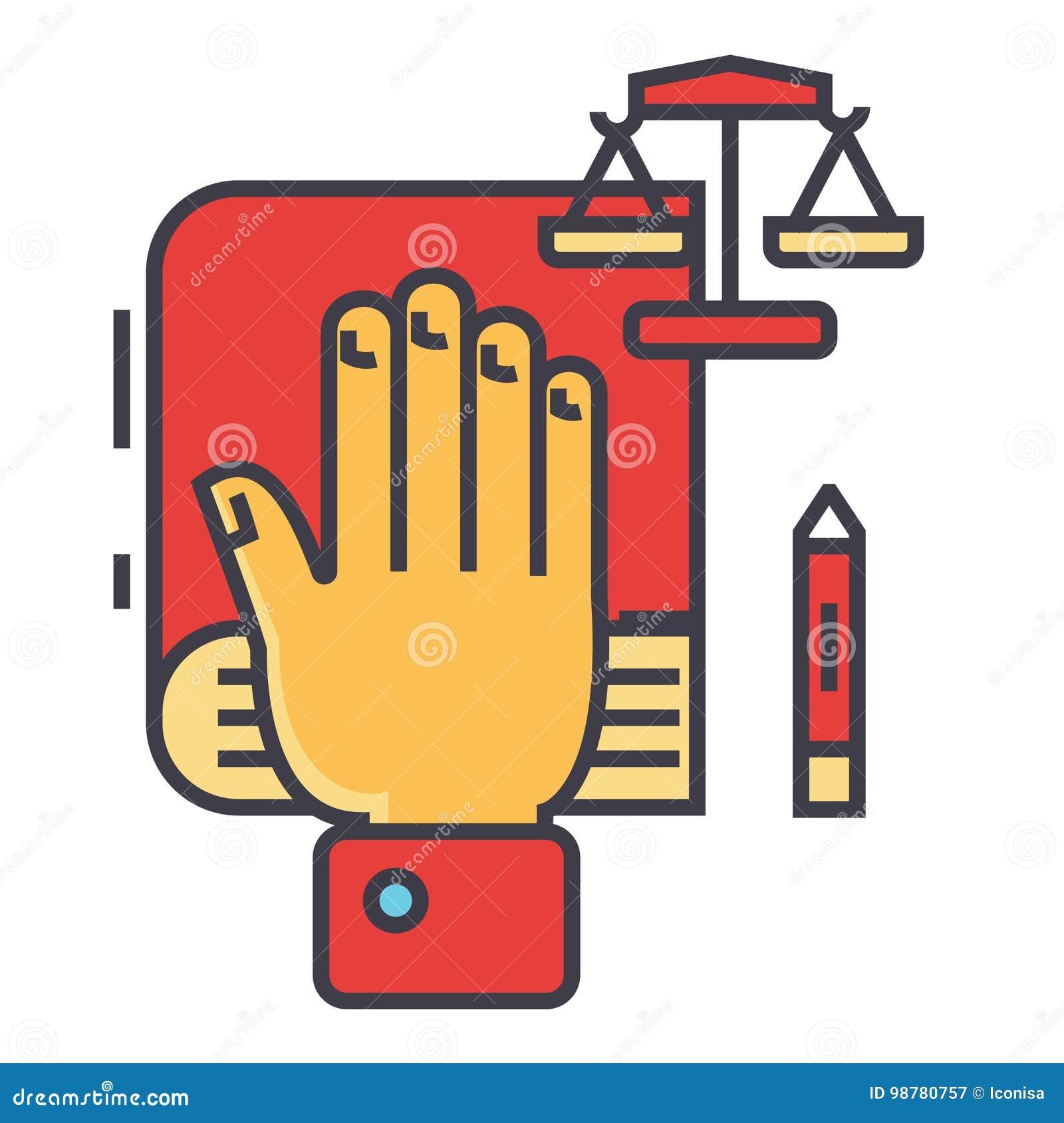 Sanning, ed, hand på boken, bibel, liten våg, lag och rättvisa, konstitutionbegrepp
