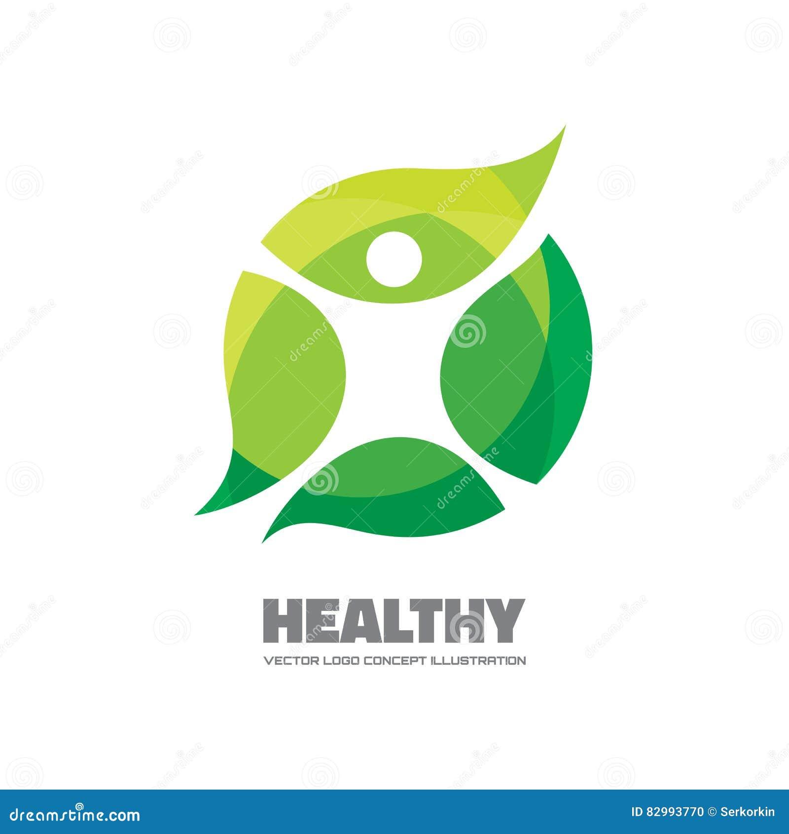 Sano - illustrazione del modello di logo di vettore L uomo dipende le foglie Segno ecologico e biologico di concetto di prodotto
