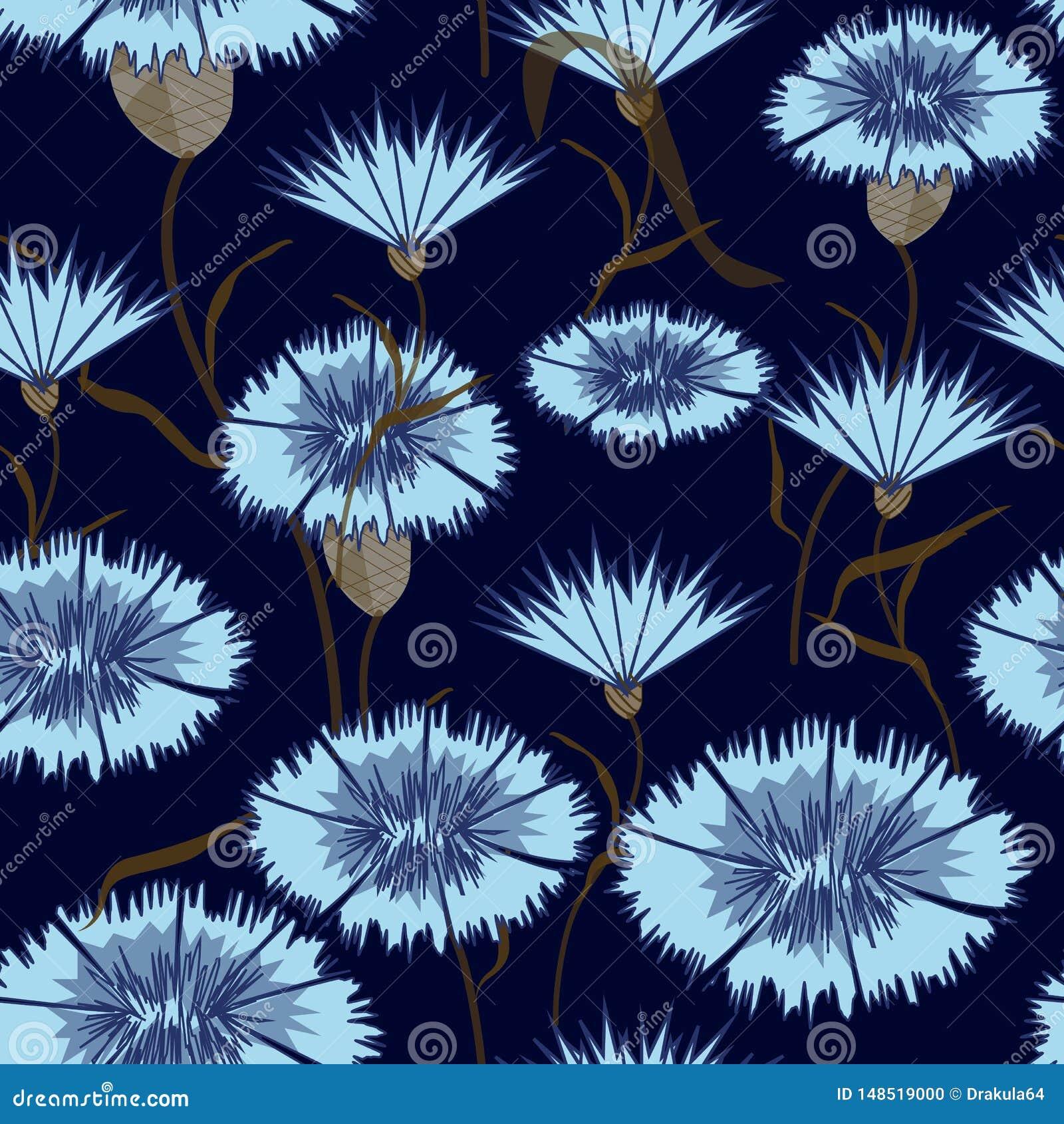 Sans couture-fond-de-bleu-bleuets
