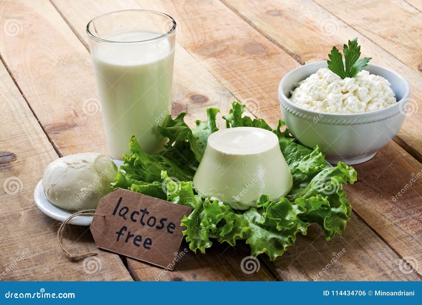 Sans lactose - nourriture avec le fond